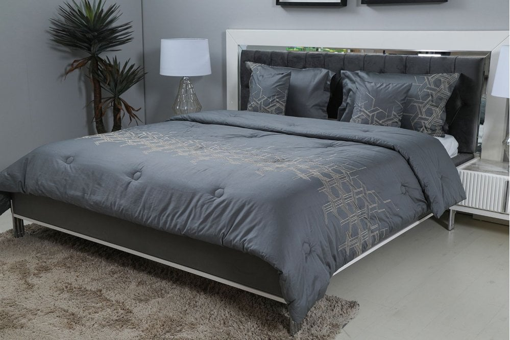 Carly 5pcs Embroidery Comforter Set Grey 220x240cm