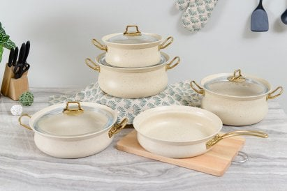 Oms 9pcs Cookware Set Ivory
