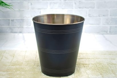 Sam Hammered Waste Bin Black 8l
